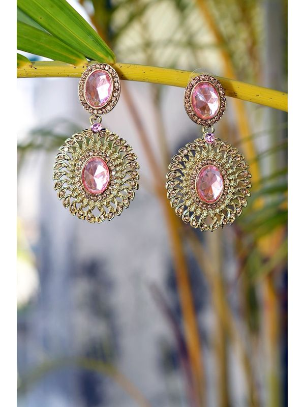 Pink Stone Drop Dangler Earrings