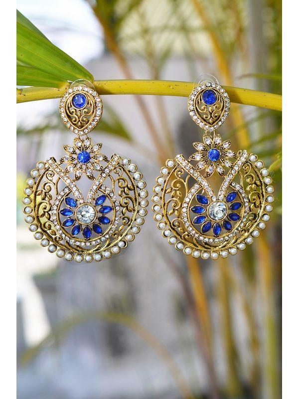 Golden Blue Danglers & Drop