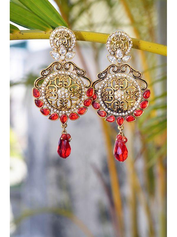 Golden Red Danglers & Drop