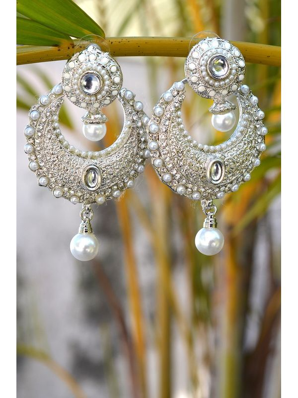 Silver Alloy White Pearl Danglers