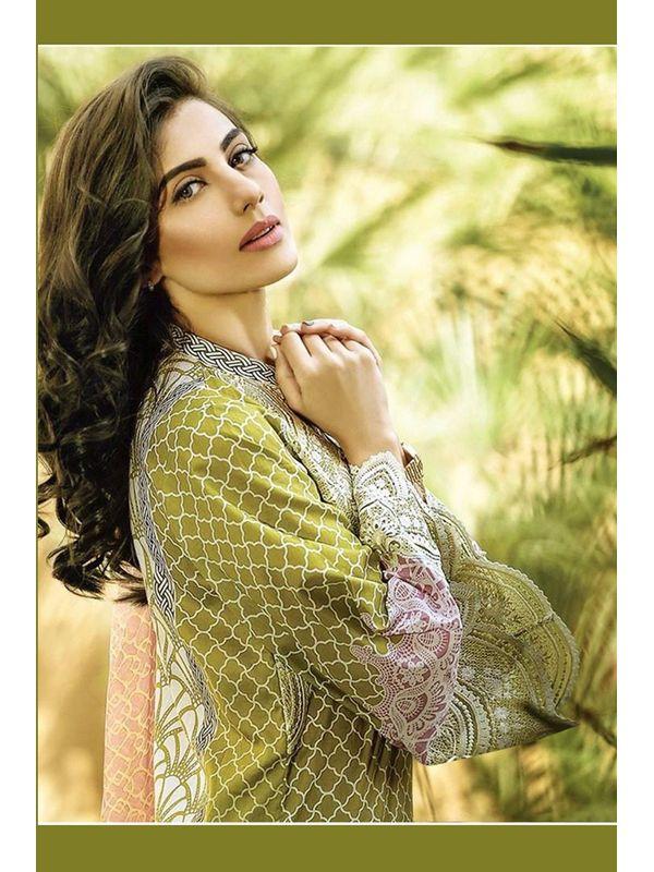 Pakistani Un-stitched Green Printed Pure Cotton Lawn Suit