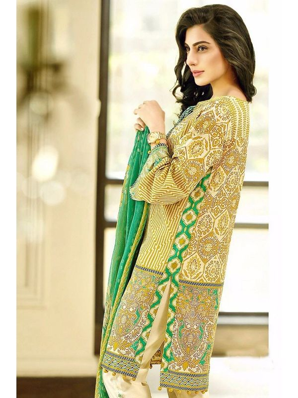 Pakistani Un-stitched Iight Green Printed Pure Cotton Lawn Suit