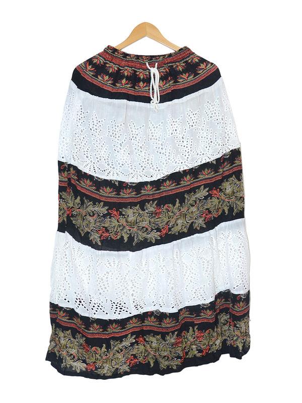 Chikenkari White Black Cotton Long Skirt