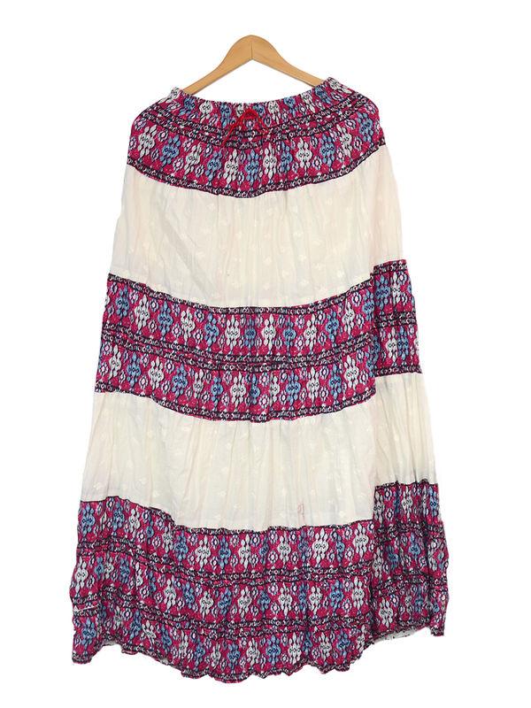 Chikenkari White Purple Printed Cotton Long Skirt