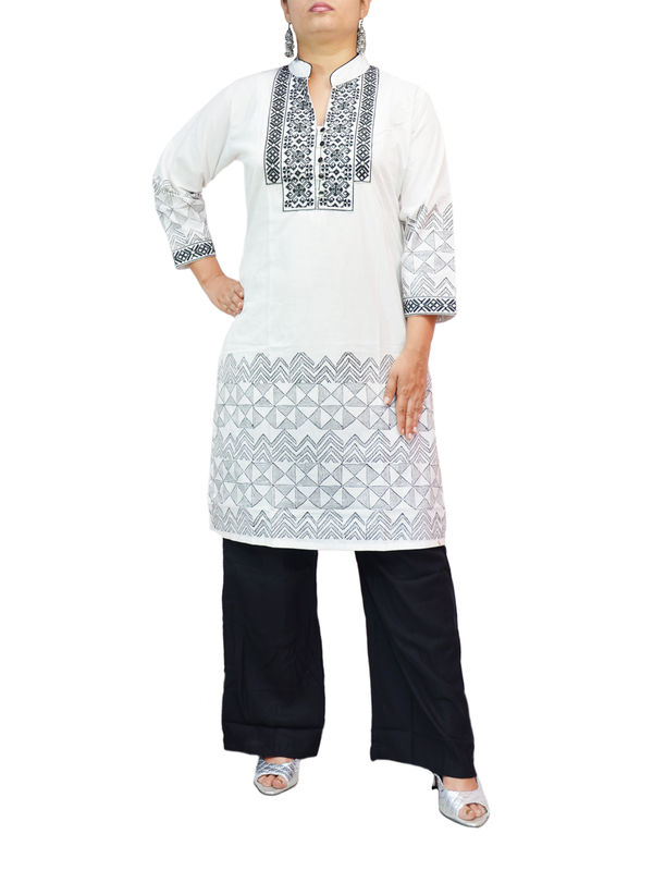 Cotton Black White Embroidered Kurti