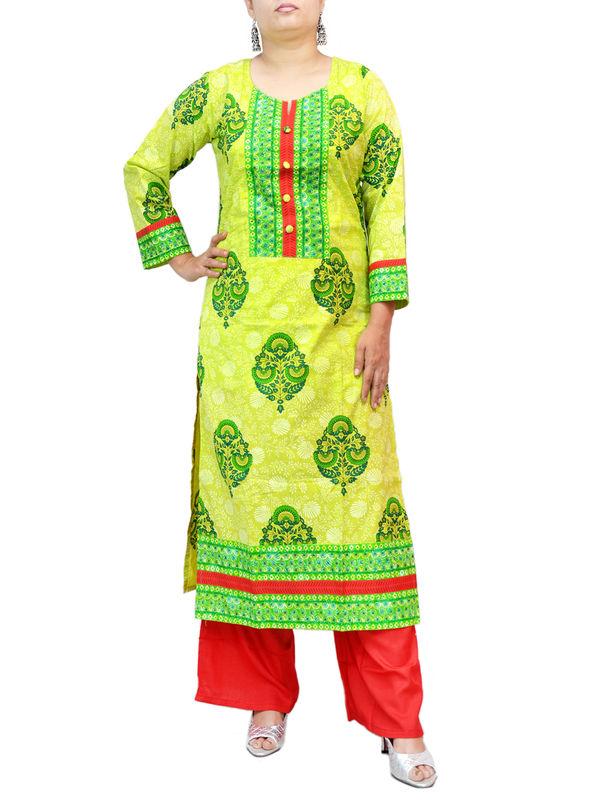 Cotton Green Red Block Printed Kurti