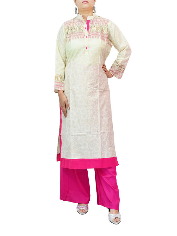 Cotton Off White Printed Kurti
