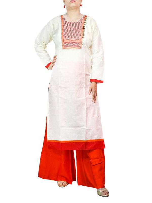 Off White Cotton kurta With Rayon Orange Palazzo