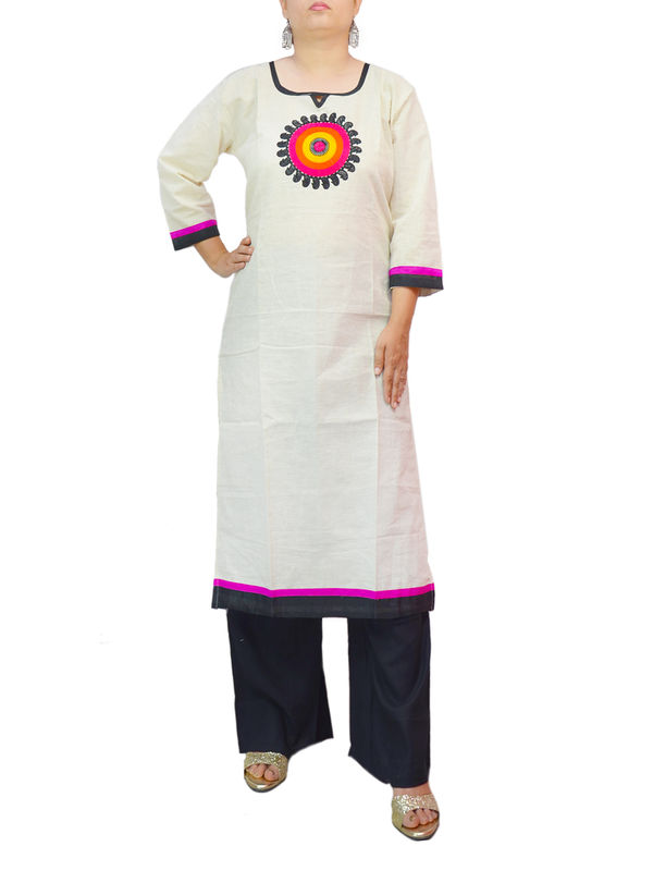 Cotton Off white kurta With Rayon Black Palazzo