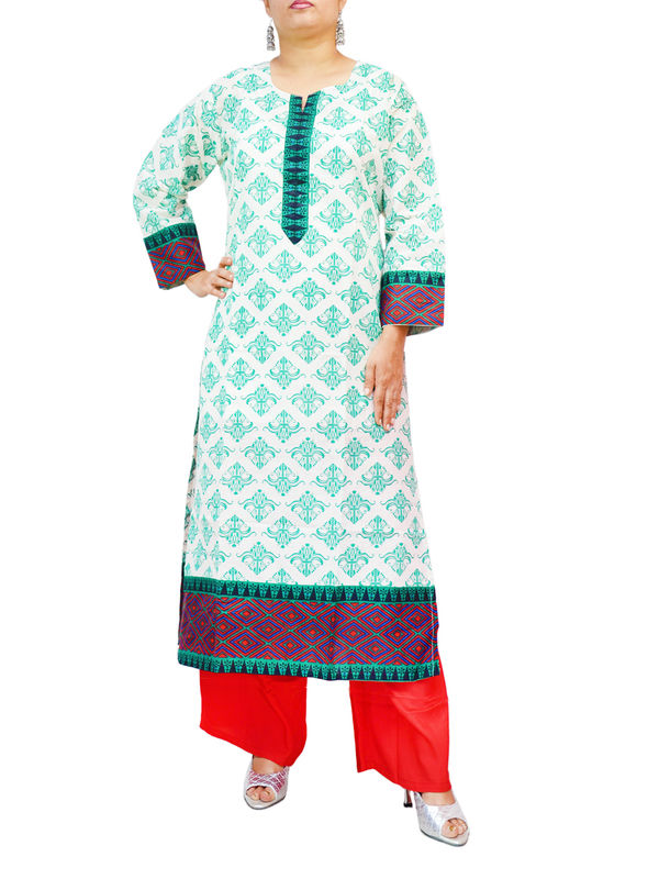 Cotton White Green Block Printed Kurti