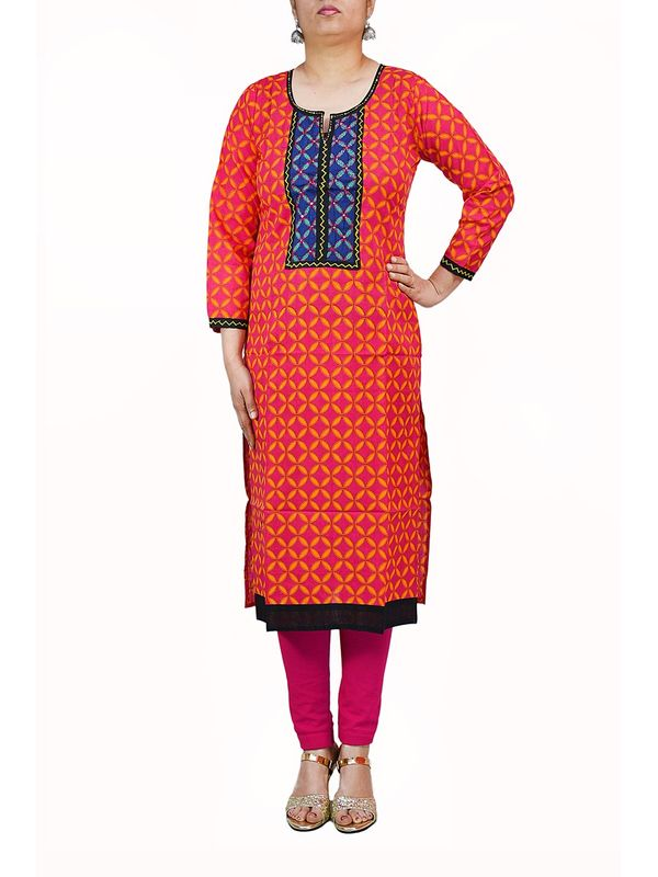 Orange & Pink Casual Cotton Kurti