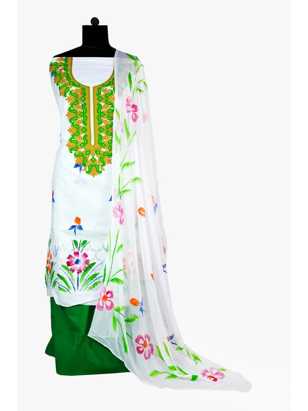White & Green Hand Painted Embroidered Cotton Chiken Ustitched Suit