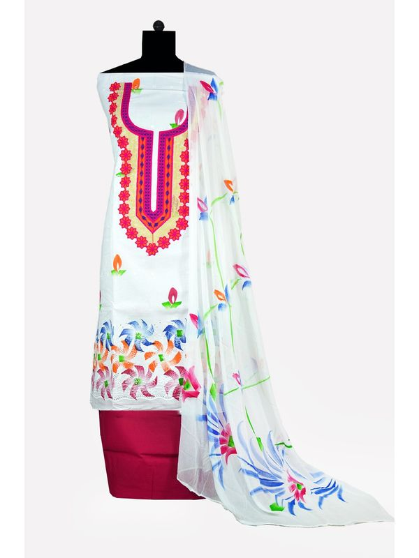 White & Magenta Hand Painted Embroidered Cotton Chiken Ustitched Suit