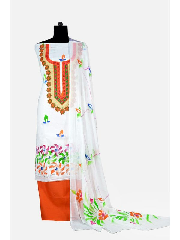 White & Orange Hand Painted Embroidered Cotton Chiken Ustitched Suit