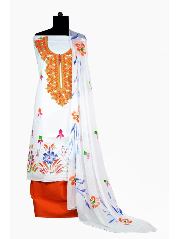 Orange & White Hand Painted Embroidered Cotton Chiken Ustitched Suit