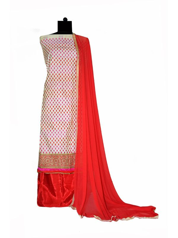 Off White & Magenta Chanderi Cotton Fully Embroidered Suit With Dupatta