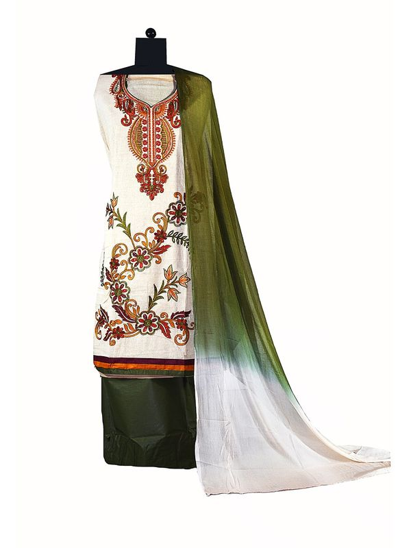 Beige Color Embroidered Cotton Ustitched Suit