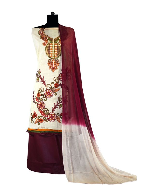 Beige Brown Color Embroidered Cotton Ustitched Suit
