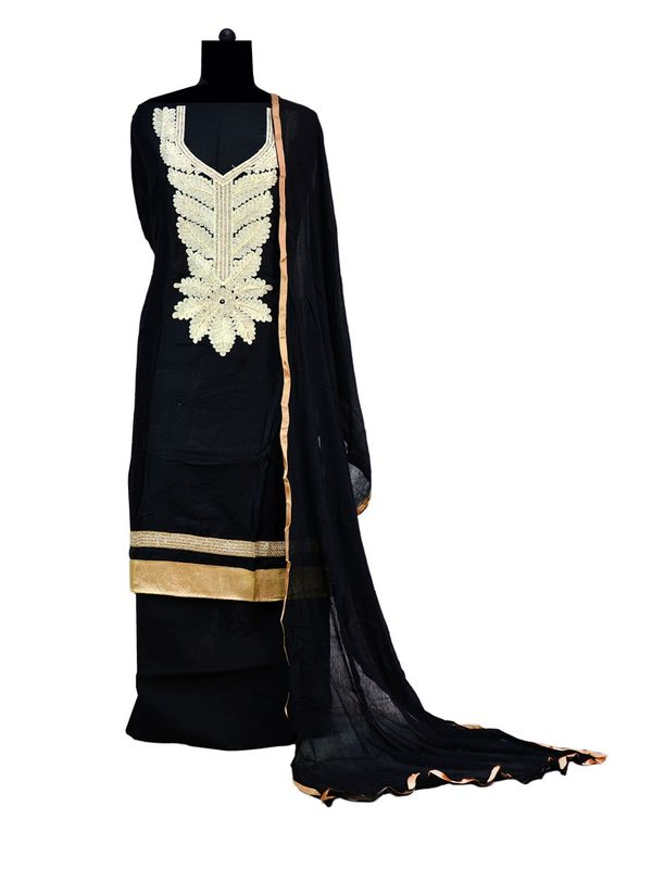 Black Embroidered Formal Cotton  Suit