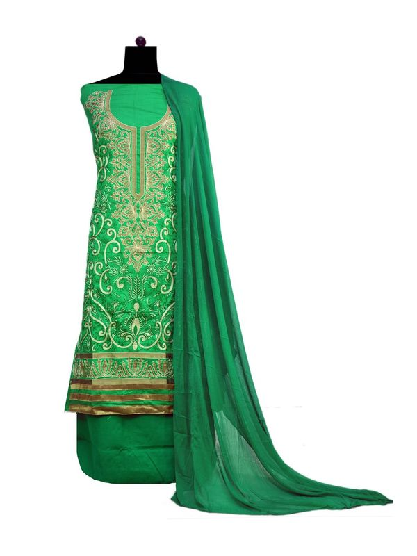 Green Embroidered Cotton Unstitched Formal Suit