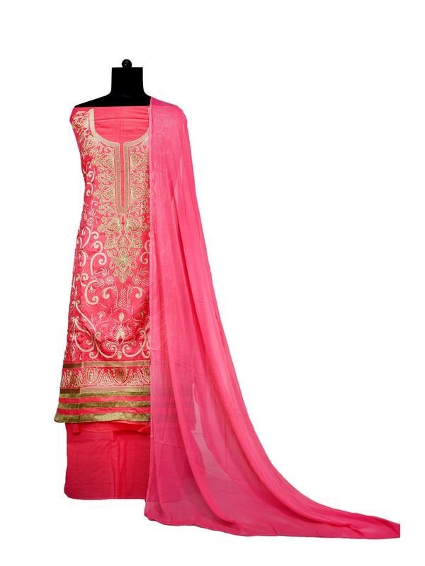 Pink Embroidered Cotton Unstitched Formal Suit