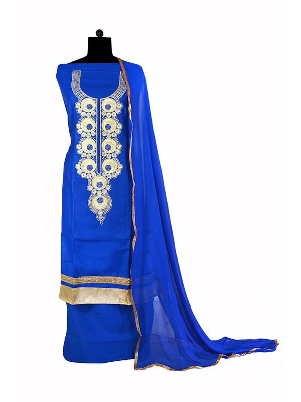 Formal Cotton Blue Embroidered Suit