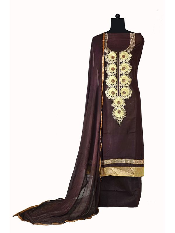 Brown Embroidered Formal Cotton  Suit