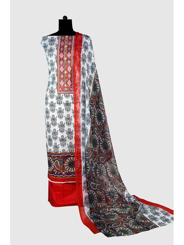 Pakistani Pure Lawn Cotton White Back Suit Karachi Embroidery