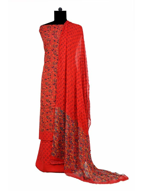 Red Makhmali Cotton Printed Suit With Pure Dupatta