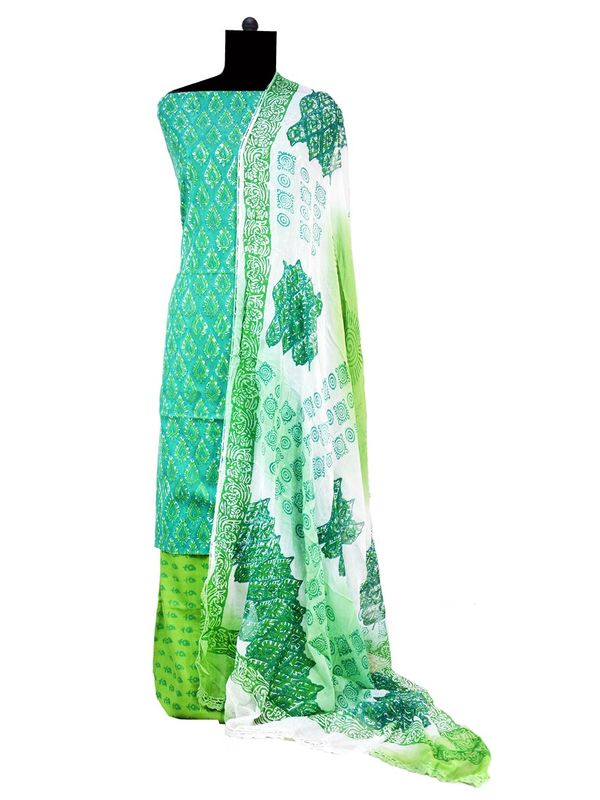Green Cotton Suit With Pure Dupatta