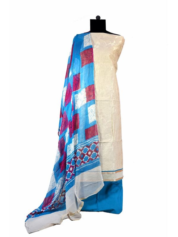 Khadi Embroidered Cotton Suit With Pure Dupatta