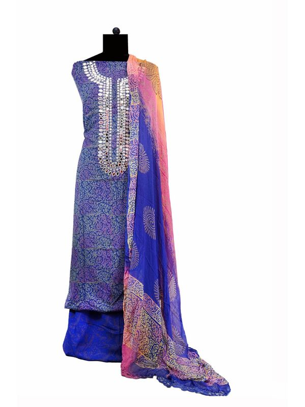Purple Mirror Embroidered Cotton Suit With Pure Dupatta