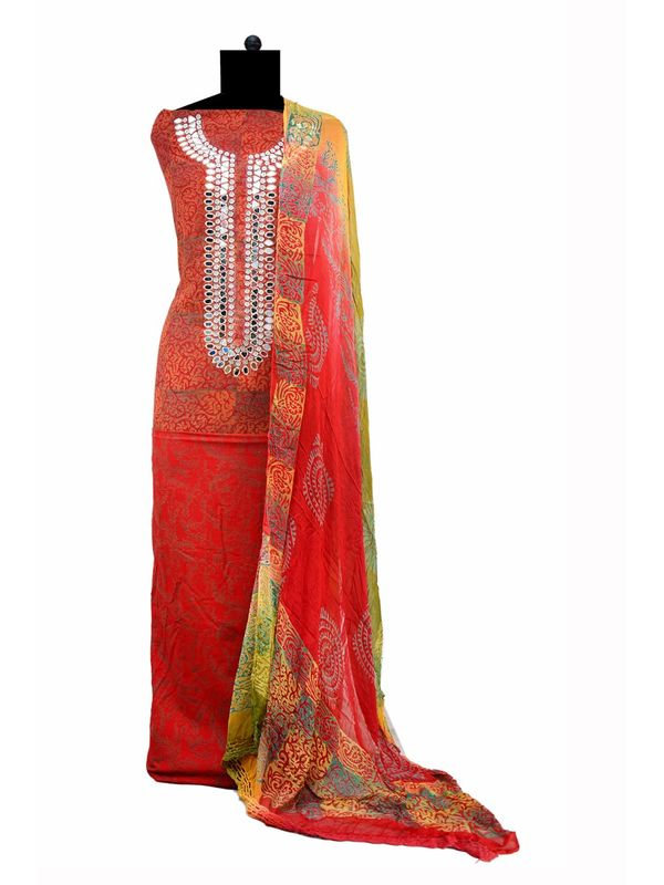 Orange Magenta Mirror Embroidered Cotton Suit With Pure Dupatta