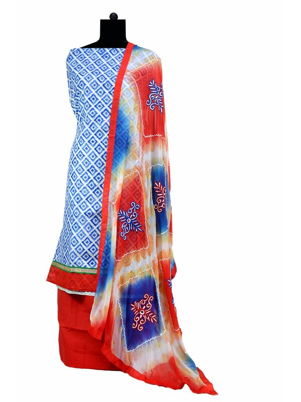 Blue Printed Cotton Suit With Pure Dupatta