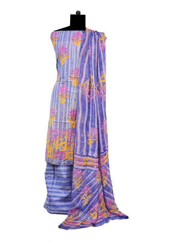 Blue Block Printed Cotton Suit With Pure Dupatta
