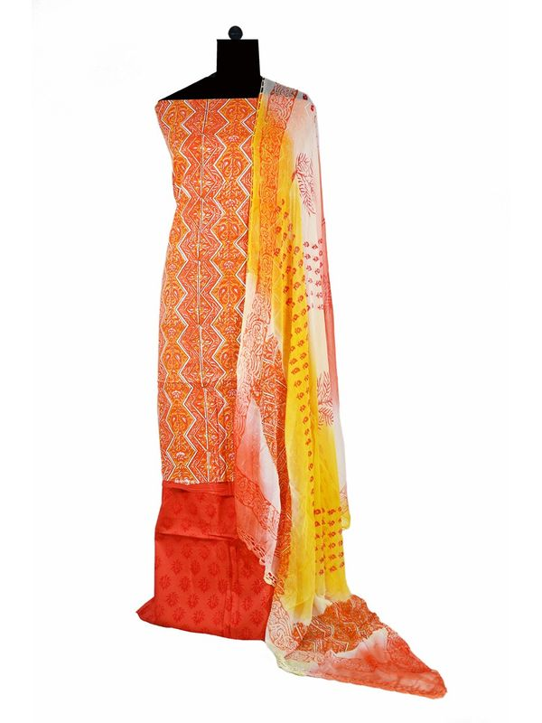 Orange Yellow Printed Cotton Suit with Pure Dupatta