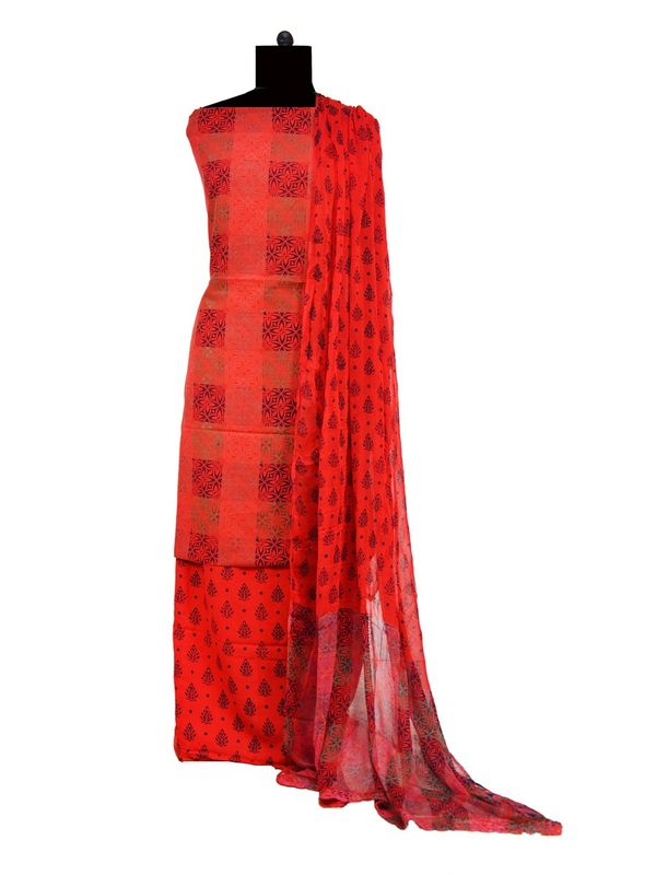 Red Black Makhmali Cotton Printed Suit With Pure Dupatta