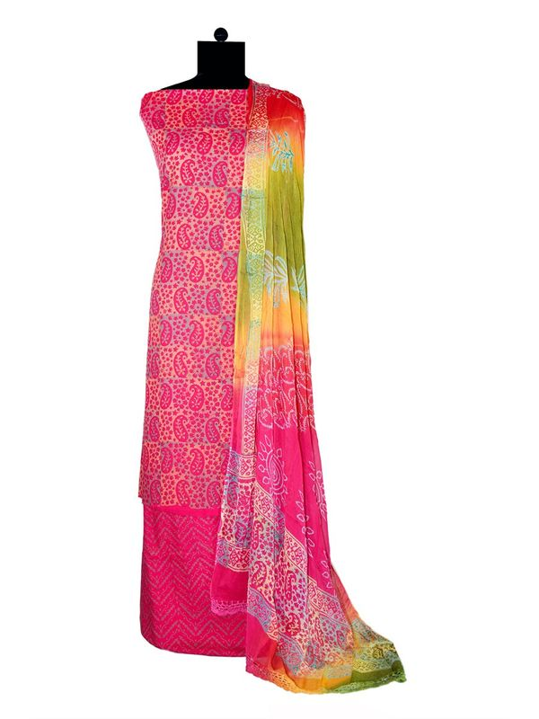 Magenta Makhmali Cotton Printed Suit With Pure Dupatta