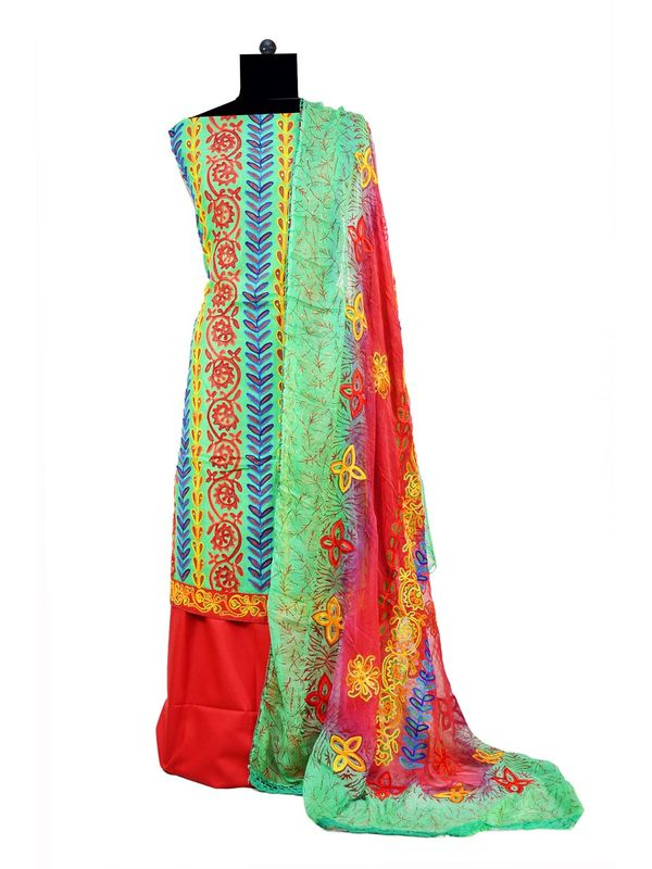 Green Aari Work Chanderi Suit With Pure Embroidered Dupatta