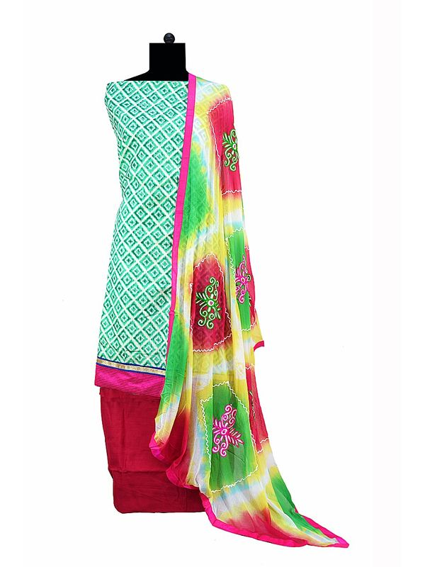Green Printed Cotton Suit With Pure Dupatta