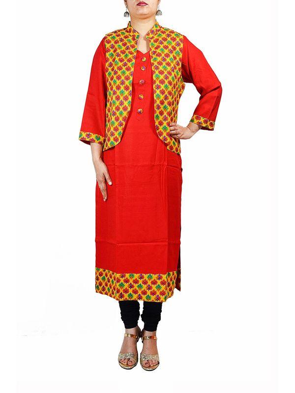Red Kurta With Phulkari Printed Jacket