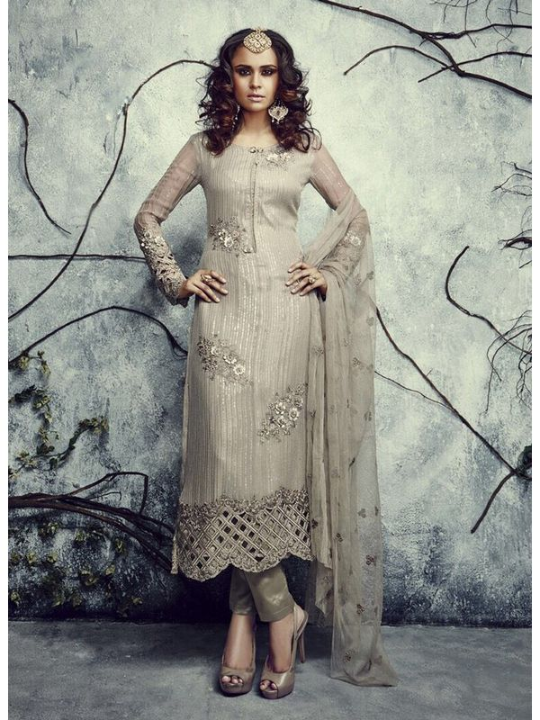 Elegant and Formal Silver coloured Pakistani Suit