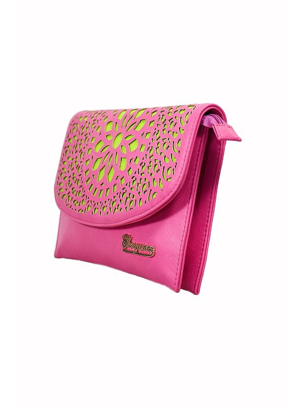 Glamorous Pink Green Sling Bag From Elegance