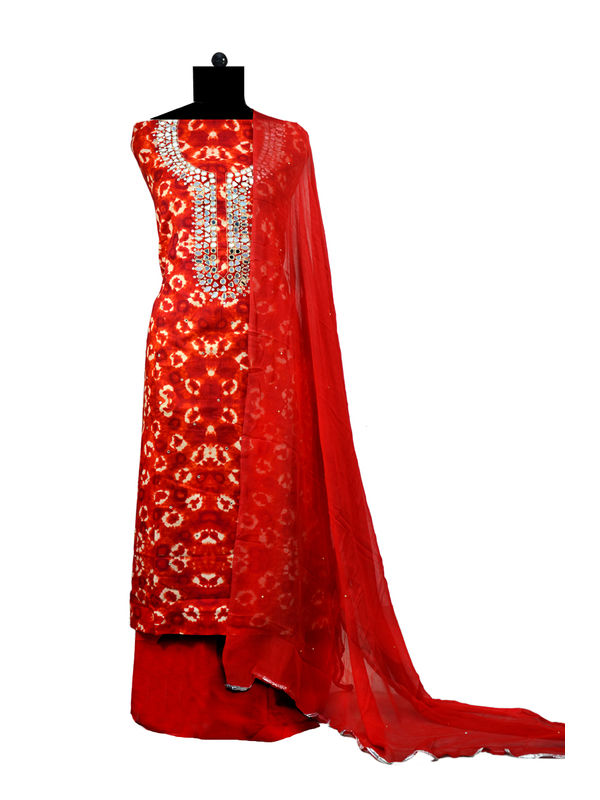 Embroidered Batik Maroon Cotton Suit With Pure Chiffon Dupatta
