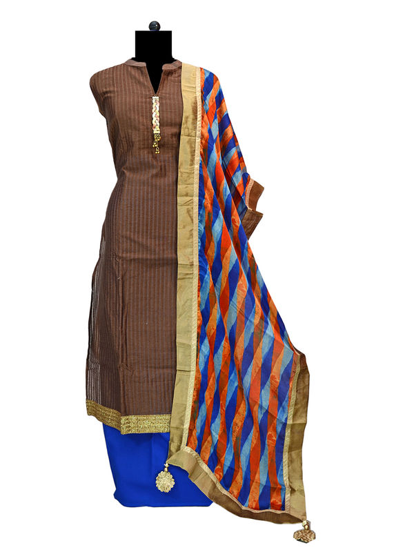 Formal Chanderi Brown Blue Suit With Pure Crape Stole