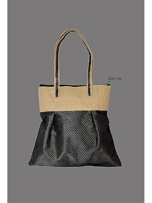 Girly Trendy Black Jute Bag