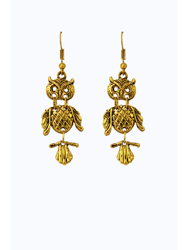 Golden Alloy Owl Danglers And Drop