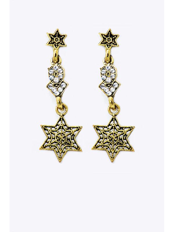 Golden Metal Star Danglers And Drop