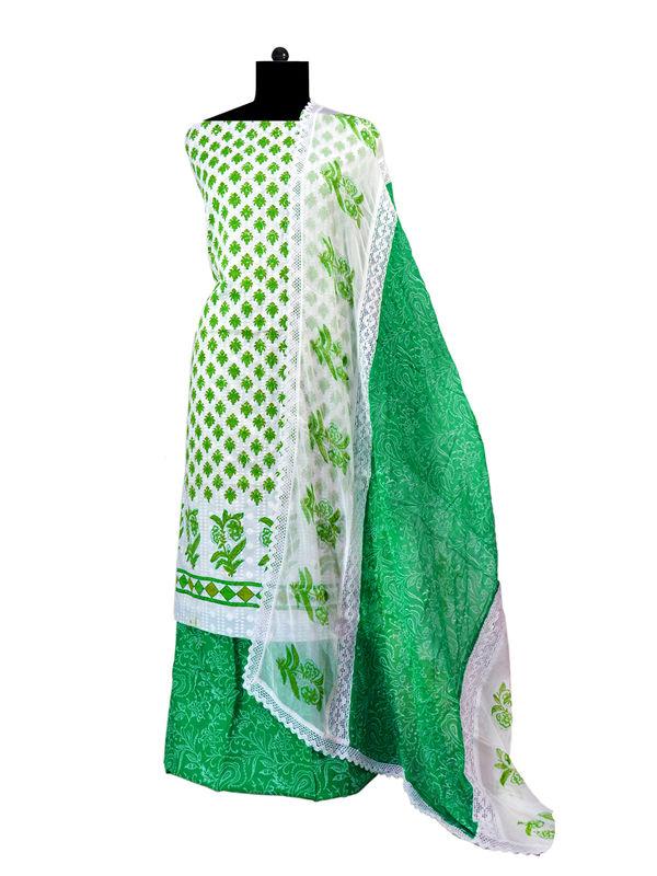 Green & White Chikankari Cotton Suit With Pure Chiffon Dupatta