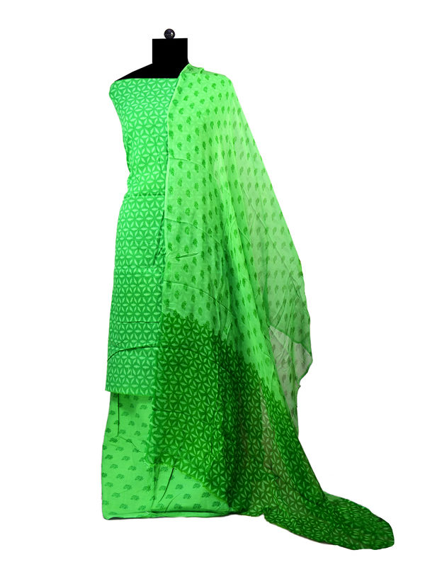 Green Printed Coton Suit With Pure Chiffon Dupatta